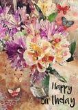 Cartão do feliz aniversario de ramalhete floral da aquarela ilustração stock