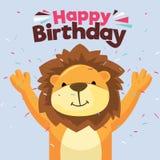 Cartão do feliz aniversario do divertimento Lion Card Cartão de aniversário ilustração stock