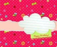 Cartão do feliz aniversario do bebê com Tag da nuvem Foto de Stock Royalty Free