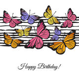 Cartão do feliz aniversario do vetor com borboletas Fotos de Stock