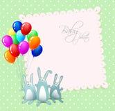 Cartão do feliz aniversario do vetor com coelhos Fotografia de Stock