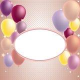 Cartão do feliz aniversario e do convite do balão do partido Imagens de Stock