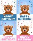 Urso de peluche do feliz aniversario ilustração do vetor