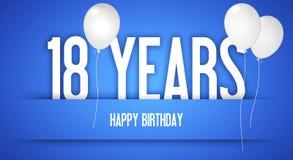 Cartão do feliz aniversario - menino com balões brancos - 18 anos de Greetin Imagens de Stock