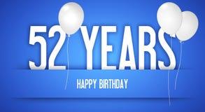 Cartão do feliz aniversario - menino com balões brancos - 52 anos de Greetin Imagem de Stock Royalty Free