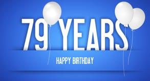 Cartão do feliz aniversario - menino com balões brancos - 79 anos de Greetin Fotografia de Stock