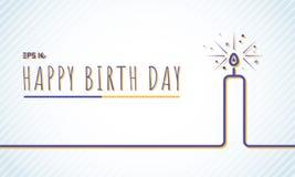 Cartão do feliz aniversario do molde com linha azul da vela em p ilustração do vetor