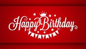 Cartão do feliz aniversario no fundo vermelho ilustração stock