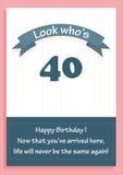 Cartão do feliz aniversario para a idade 40 com mensagem Fotografia de Stock Royalty Free