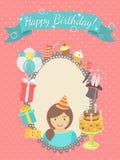 Cartão do feliz aniversario para a menina Fotos de Stock Royalty Free
