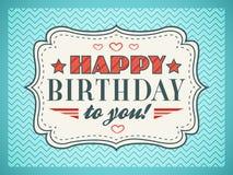 Cartão do feliz aniversario A tipografia rotula o tipo da pia batismal ilustração royalty free