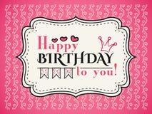 Cartão do feliz aniversario A tipografia rotula o tipo da pia batismal Foto de Stock