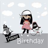 Cartão do feliz aniversario uma criança com um pirata do cão de brinquedo Imagens de Stock