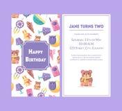 Cartão do feliz aniversario, Violet Party Invitation Template para a ilustração do vetor da celebração do aniversário do bebê ilustração stock