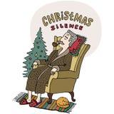 Cartão do Feliz Natal Ancião que senta-se na cadeira e na tubulação de cigarro de fumo perto da árvore de Natal Estilo dos desenh Fotos de Stock Royalty Free