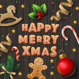 Cartão do Feliz Natal com cookies ilustração royalty free