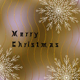 Cartão do Feliz Natal com flocos de neve brancos e linhas onduladas Fotos de Stock Royalty Free