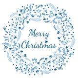 Cartão do Feliz Natal com grinalda, fundo do vintage com tipografia e elementos - peúga, abeto vermelho, abeto, pirulito, estrept Fotos de Stock Royalty Free