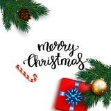 Cartão do Feliz Natal com o presente da caixa com curva, bastão de doces Imagens de Stock