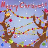 Cartão do Feliz Natal com os chifres dos cervos Fotos de Stock Royalty Free