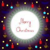 Cartão do Feliz Natal com quadro e coisas redondos a do Natal ilustração stock