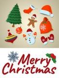Cartão do Feliz Natal do conceito, ícone isolado Estilo dos desenhos animados Vect ilustração stock