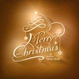 Cartão do Feliz Natal da caligrafia Imagens de Stock