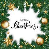 Cartão do Feliz Natal de decorações douradas no Natal Foto de Stock Royalty Free