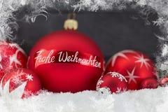 Cartão do Feliz Natal de Frohe Weihnachten Fotografia de Stock