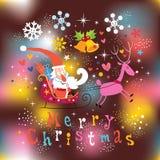 Cartão do Feliz Natal de Santa e de rena Fotos de Stock