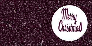 Cartão do Feliz Natal Decoração do Natal em Borgonha de prata e escura Mão desenhada Vetor ilustração do vetor