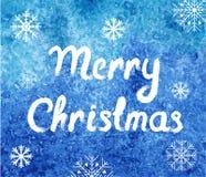 Cartão do Feliz Natal do vetor Fundo da aquarela do inverno com flocos de neve Molde moderno fácil abstrato Foto de Stock
