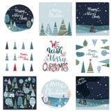 Cartão do Feliz Natal e do ano novo feliz ilustração royalty free