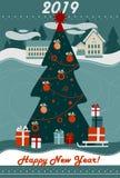 Cartão 2019 do Feliz Natal e do ano novo feliz ilustração royalty free