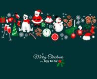 Cartão do Feliz Natal e do ano novo feliz no estilo retro Imagens de Stock Royalty Free