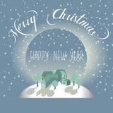Cartão do Feliz Natal e do ano novo feliz ilustração stock