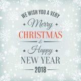 Cartão do Feliz Natal e do ano novo feliz 2018 Fotografia de Stock Royalty Free