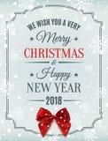 Cartão do Feliz Natal e do ano novo feliz 2018 Imagem de Stock