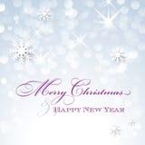 Cartão do Feliz Natal e do ano novo feliz com flocos de neve ilustração royalty free