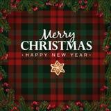 Cartão do Feliz Natal e do ano novo feliz, convite Os ramos de árvore do Natal, as bagas vermelhas beira e o pão-de-espécie star  Fotos de Stock