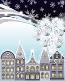 Cartão do Feliz Natal feliz e do ano novo, cidade do inverno Imagens de Stock Royalty Free