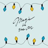Cartão do Feliz Natal Mágica no ar Ilustração do vetor Fotos de Stock