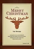 Cartão do Feliz Natal no vintage com símbolo da rena no fundo de madeira Foto de Stock Royalty Free