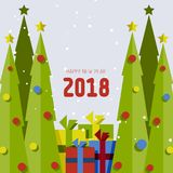 Cartão do Feliz Natal ou do ano novo feliz 2018 Foto de Stock