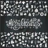 Cartão do Feliz Natal Silhueta dos ícones quadro ilustração royalty free