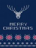 Cartão do Feliz Natal Vetor feito malha da textura Fotografia de Stock