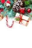 Cartão do Feliz Natal do vintage Configuração lisa, vista superior com c Imagem de Stock
