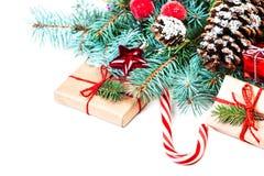 Cartão do Feliz Natal do vintage Configuração lisa, vista superior com c Fotografia de Stock