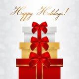 Cartão do feriado, cartão de Natal, cartão de aniversário, molde do vale-oferta (cartão) com a pilha grande das caixas (presentes Imagens de Stock Royalty Free