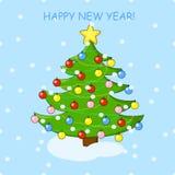 Cartão do feriado com árvore de Natal e fundo do ano novo feliz Imagens de Stock